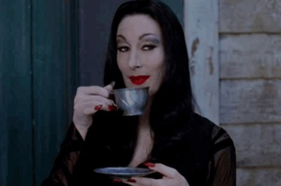 Morticia Sipping Tea
